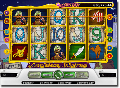 Play Arabian Nights progressive jackpot pokie online