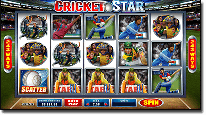 Sports themed online pokies - Cricket Star