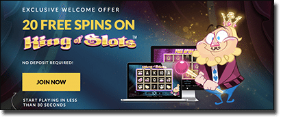 Guts.com King of Slots no-deposit welcome bonus