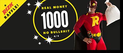 Rizk Casino cash bonus raffle