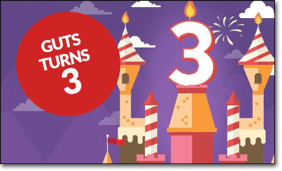 Guts Casino turns three years old