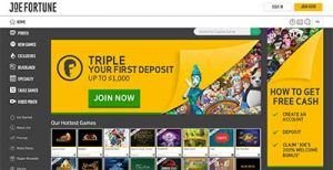 Joe Fortune Bitcoin pokies site