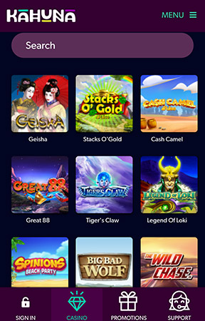 Kahuna Casino mobile pokies games