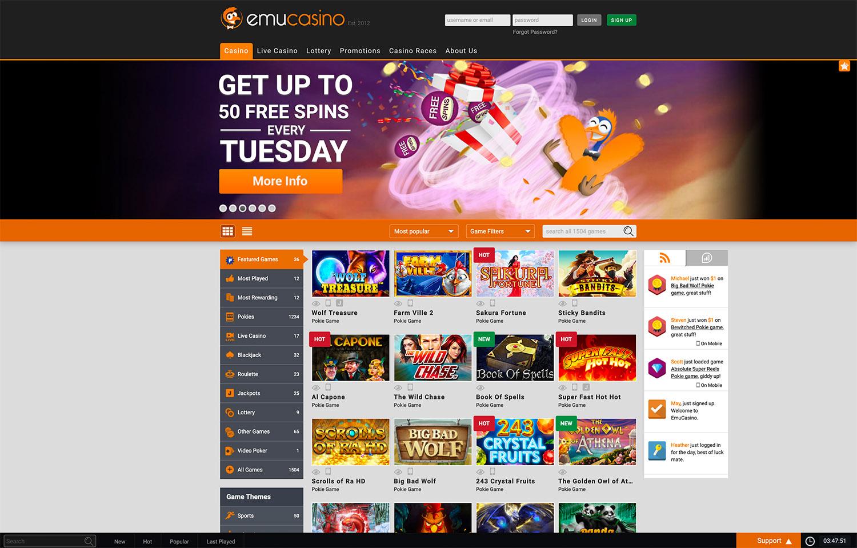 Emu Casino desktop