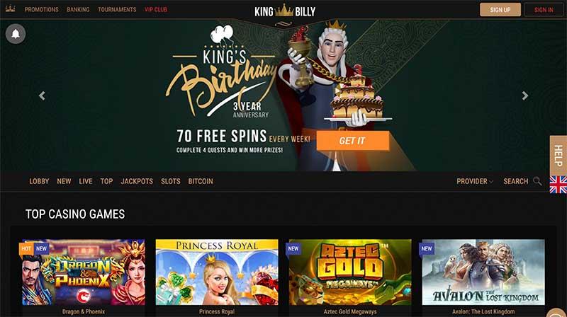 King Billy Casino bonus offers